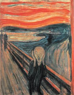 공황을 뜻하는 영어 '패닉'은 그리스 신화에 나오는 공포의 신 '판'에서 유래했다고 한다. 위험한 상황이 없는데도 신체적 이상 증상이 계속되면 공황장애를 의심해야 한다. 노르웨이 표현작가 뭉크의 '절규'. 동아일보 자료 사진