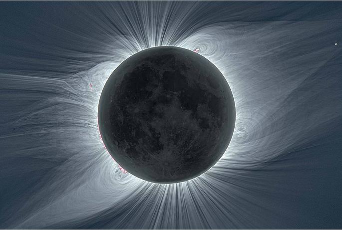 달이 태양 앞을 지나가는 개기일식 때 '코로나'를 촬영한 모습. 사이언스 제공