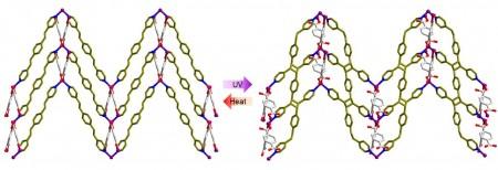 자외선을 쬐여 금속초분자 중간체가 고분자가 되는 반응. 왼쪽의 금속초분자에 자외선을 쪼이면 오른쪽의 유기고분자가 생성됐다. - 미래창조과학부 제공