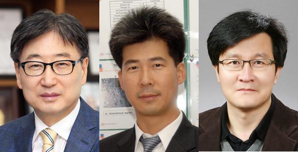윤부근 대표이사, 석현광 책임연구원, 김용환 교수(왼쪽부터) - 한국공학한림원 제공