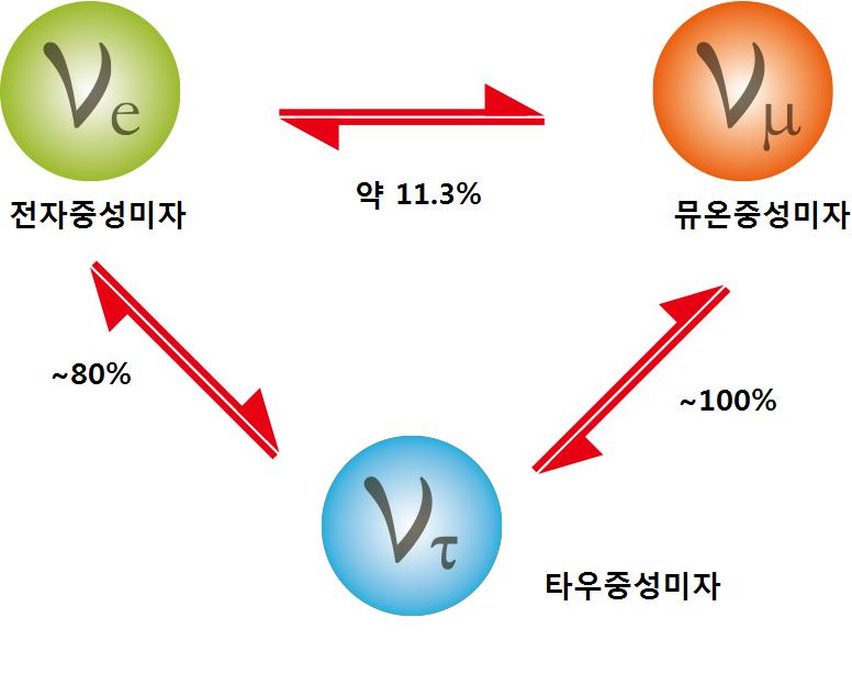 중성미자는 각각 3가지의 형태로 바뀐다. 변환 비율을 의미하는 변환상수를 정확히 알아내야 중성미자의 질량을 알아낼 수 있다.