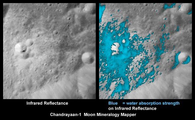 인도의 달 궤도선 찬드라얀1호가 촬영한 사진. 달 표면의 작은 크레이터에서 광물 성분을 측정했다. 파란색 부분이 물을 포함한 광물을 나타낸다.