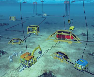 수중건설로봇사업단의 핵심별 로봇에 대한 상상도. 경작업용 ROV(1 핵심과제), ROV 기반의 수중 중작업용 - (주)동아사이언스 제공
