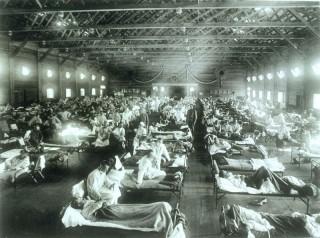 1918년 스페인독감이 전세계적으로 창궐할 당시의 야전 병원. - 위키미디어 제공