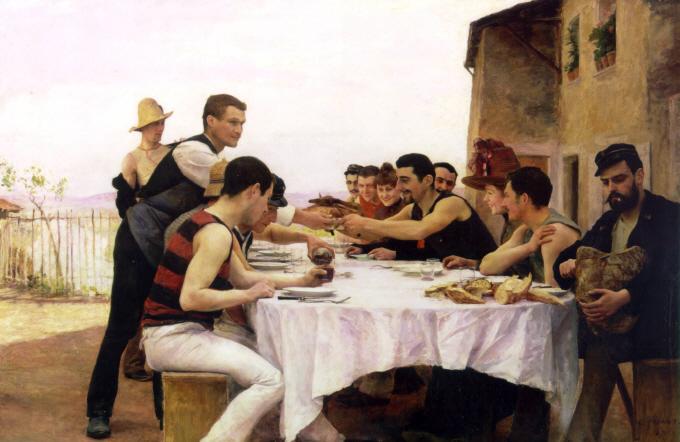 19세기 프랑스 화가 에밀 프리앙의 유화 '뫼르트강에서 뱃놀이를 하는 사람들'(1888). 오른쪽 끝에 커다란 빵을 자르는 남자의 모습이 인상적이다. 공기가 80%인 빵이 만들어질 수 있는 건 밀에 들어있는 글루텐 때문이다. - 위키피디아 제공