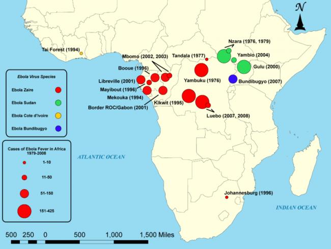에볼라 발생 지역. 1976년 자이르(현 콩고민주공화국) 북부의 얌부쿠(Yambuku)와 수단 남부 은자라(N