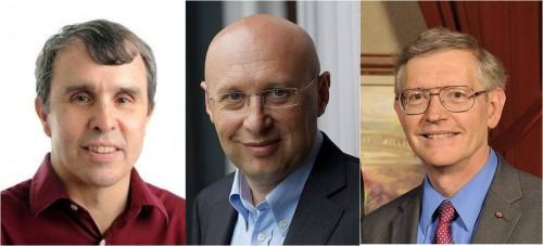 2014 노벨화학상을 수상한 에릭 베치그 그룹리더(왼쪽), 슈테판 헬 소장(가운데), 윌리엄 머너(오른쪽) 교수. - 노벨위원회 제공