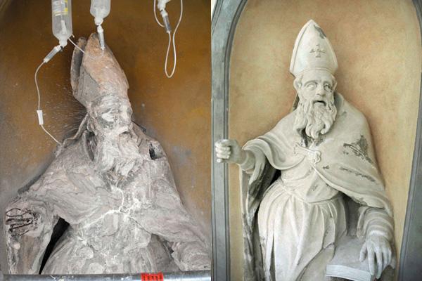 유럽 공동 연구진은 나노기술이 적용된 물질을 이용해 폴란드 바르샤바의 하일리거 아우구스티누스 석상(왼쪽)을 복원하는 데 성공했다. - IBZ 프라이버그 제공