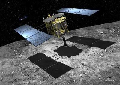 하야부사2호가 소행성에서 암석을 채취하는 모식도. - JAXA 제공