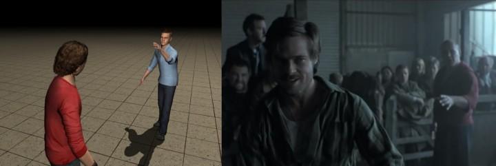 이제희 서울대 교수팀은 여러 단어를 화면에서 연결하는 것만으로 3차원 동영상을 생성하는 영상 콘티 기술을 개발했다. 영화 '스내치'에서 싸우는 장면(오른쪽)을 영상 콘티로 재현했다. - 이제희 교수팀 제공