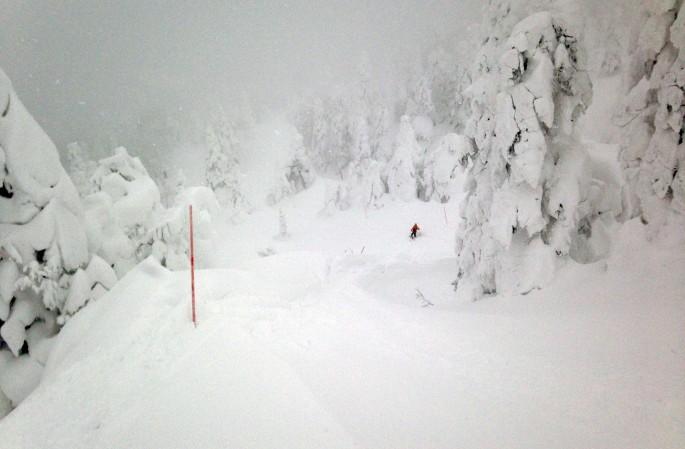 핫코다 산 중턱. 중앙에 작은 붉은 스키복을 입고 스키를 즐기고 있는 사람이 보인다.