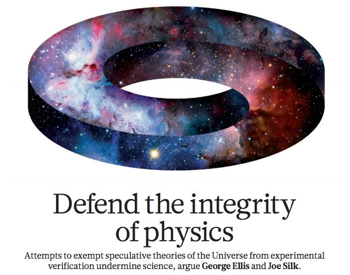 지난해 '네이처' 마지막호에는 이론물리학의 꽃이라고 여겨지는 끈이론이 오히려 물리학의 정신을 훼손하고 유사과학으로 변질될 조짐을 보이는 현실을 개탄한 글이 실렸다.  - 네이처 제공