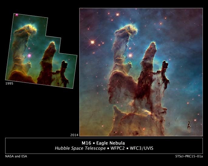7000광년 떨어진 독수리성운 사진 - 미국항공우주국 제공