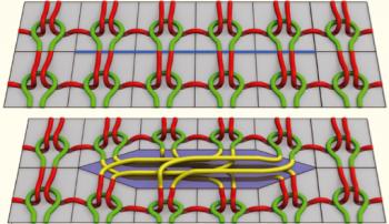 뜨개질에서 실이 엮이는 형태를 나타낸 3D 모델(왼쪽)과 컴퓨터 그래픽으로 만든 니트(오른쪽). 수학을 이용해 뜨개질을 3D 모델로 만들면 컴퓨터 그래픽으로 니트를 실제처럼 표현하는 방법도 찾을 수 있다. - 수학동아 제공