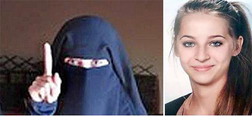 """이슬람 수니파 무장단체 이슬람국가(IS)에 합류하기 위해 시리아로 떠난 오스트리아의 한 10대 소녀. 일부 철없는(?) 서방 소녀들이 """"이슬람 전사의 아이를 낳겠다""""며 IS에 합류했다. - 뉴욕포스트 제공"""