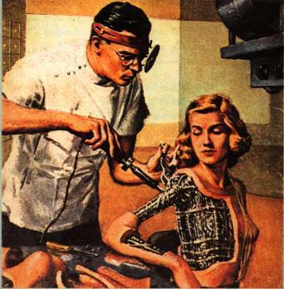 1938년 발표된 단편 '헬렌 올로이'는 사람과 안드로이드의 순애보를 그리고 있다. 사진은 1954년 '갤럭시'라는 잡지에 실린 일러스트다. - 위키피디아 제공