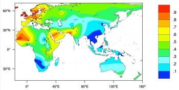 우유를 마실 수 있는 어른의 비율. 파란 쪽은 비율이 낮은 지역이고 빨간 쪽은 높은 지역이다. 세계 대부분은 녹색과 파란색(50% 이하)이다. 북서 유럽, 북서 아프리카, 중동 지역에 빨간 부분(90% 이상)이 집중돼 있다. - 과학동아 제공