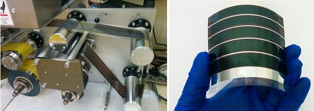 페로브스카이트 태양전지를 롤투롤 공정으로 제작하는 모습(왼쪽). 생산된 플렉서블 태양전지(오른쪽) - 광주과학기술원 제공
