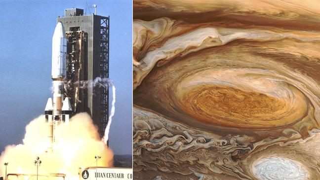 [좌] 1977년 태양계 탐사 임무를 띠고 발사된 보이저 1호, [우] 1979년 보이저 1호가 목성에 접근해 찍은 사진 - 미국 NASA 제공