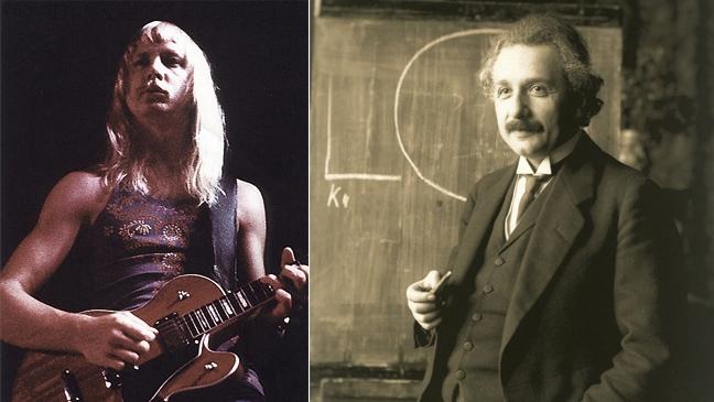 케리 리브그렌과 앨버트 아인슈타인. 리브그렌은 아인슈타인에 대한 존경심으로 노래를 만들어 'Dust in the wind'가 수록된 앨범 4번 트랙에 실었다. - pinterest, 위키피디아 제공