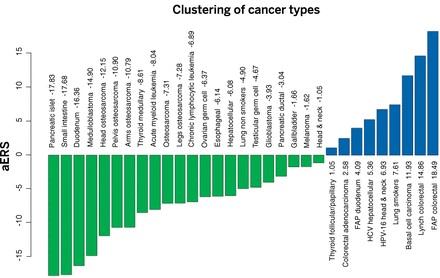 31가지 암에 대해 기타 위험성 지수(ERS, 세로축)를 나타낸 그래프. 지수가 큰 암일수록록 발병에 환경이나 유전 같은 요인이 차지하는 비중이 높다는 뜻이다.  - 사이언스 제공