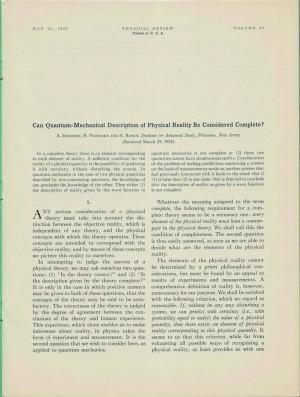 1935년 발표된 이른바 'EPR 논문'의 초판본 - the Physical Review 제공