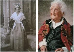프랑스의 최고령 기록 보유자인 쟌느 칼멩 할머니의 22세 시절(왼쪽)과 말년의 모습. - 이상희 교수 제공