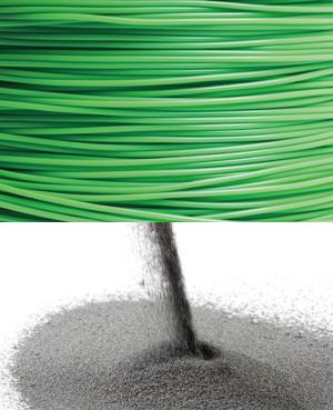 녹여 짜내는 플라스틱 필라멘트에 비해 3D 프린팅에 알맞은 분말은 개발하기 더 어렵다.(위) 아래 두 번째 사진은 아일랜드 나노스틸사가 개발한 3D 프린팅용 강철 분말.(아래) - istockphoto,  나노스틸사 제공