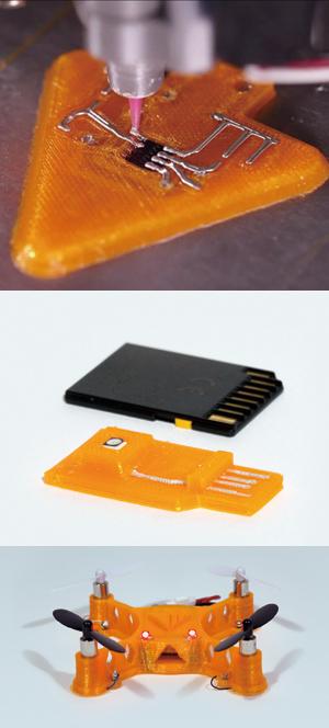 듀얼헤드 중 하나는 전도성 잉크로 회로를 찍어낸다(위).  그 아래 사진은 차례대로 이 프린터로 만든 마이크로 SD카드(중간), USB메모리와 소형 무인기(아래). - 하버드대 제공