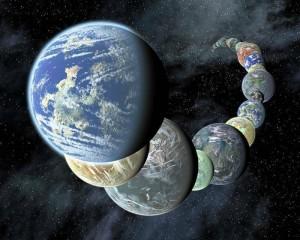 여러 개의 지구를 상상해 본 그림. 내가 그림을 보고 있는 세계와 동시에 그림을 보고 있지 않은 또 다른 지구가 공존 하는 것일까?  - NASA 제공
