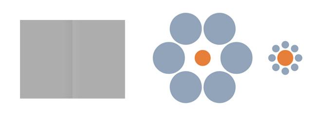 심리학자 톰 콘스위트(Tom Cornsweet)와 헤르만 에빙하우스(Hermann Ebbinghaus)가 만든 착시도형. [좌] 콘스위트 도형, [우] 에빙하우스 도형 - 위키피디아 제공
