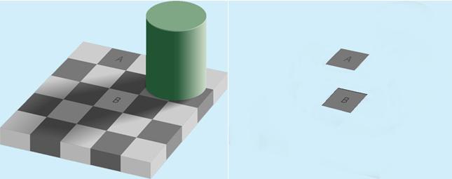 왼쪽 그림에서 A와 B만 남기고 전부 지웠더니, 오른쪽 그림처럼 남은 두 영역이 같은 색깔이라는 걸 알 수 있다. - 위키피디아 제공