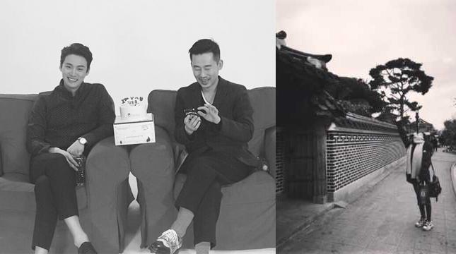 인종차별를 반대하는 취지로 흑백사진 올리기 캠페인에 참가한 개념 연예인 오상진(왼쪽)과 흑백 풍경사진을 올린 걸그룹 걸스데이 민아 - 인스타그램 제공