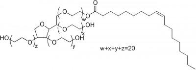 식품과 화장품에 널리 쓰이는 유화제 P80의 분자구조. 왼쪽은 극성을 띠어 물과 친하고 오른쪽은 비극성으로 기름과 친하다.  - 위키피디아 제공