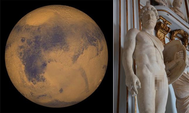 [좌] 화성, [우] 전쟁의 신 마르스 - 위키미디어, flickr.com 제공