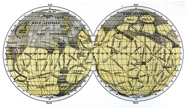 조반니 스키아파렐리가 1888년 제작한 화성 지도 - 위키미디어 제공