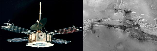 [좌] 매리너 5호, [우] 매리너 9호가 보내온 화성 사진 - NASA 제공