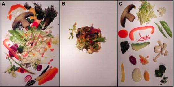 4_똑 같은 식재료로 준비한 샐러드도 어떻게 배치하느냐에 따라 맛에 대한 평가가 달라진다. 칸딘스키의 작품 '그림 201번'을 따라 배치한 샐러드(왼쪽)가 한데 모아놓은 경우(가운데)나 개별 식재료로 나열한 경우(오른쪽)보다 더 맛이 좋다고 평가됐다. - Flavour 제공
