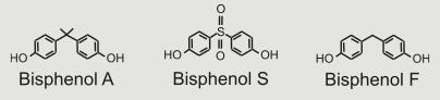비스페놀A와 이를 대체하는 용도로 쓰이는 비스페놀S, 비스페놀F 분자의 구조. 기본 골격이 상당히 비슷함을 알 수 있다. - 가임과 불임 제공