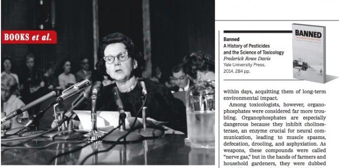 학술지 '사이언스' 3월 13일자에는 과학사가 프레더릭 로웨 데이비스의 책 'Banned'에 대한 서평이 실렸다. 왼쪽 위에 사진은 1963년 6월 4일 미국 상원 청문회에 출석해 증언하고 있는 레이첼 카슨의 모습이다.  - 사이언스 제공