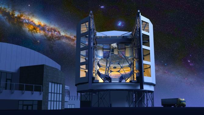 2020년 완공 예정인 '거대마젤란망원경(GMT)' 조감도. 지름 8.4m인 반사경 7장을 이어 붙여 지름 25m 반사경으로 관측하는 효과를 낸다. - 한국천문연구원 제공