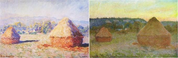 프랑스 화가 클로드 모네의 '노적가리' 연작 가운데 두 작품. 왼쪽은 여름 맑은 날이고 오른쪽은 가을 해질녘이다. - 위키피디아 제공