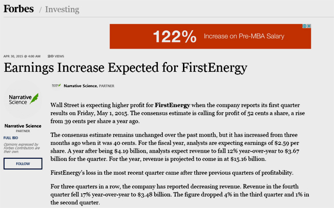 로봇 기자가 작성한 경제 기사. 美 경제지 포브스(Forbes) 4월 30일자에 게재됐다 - 포브스 제공