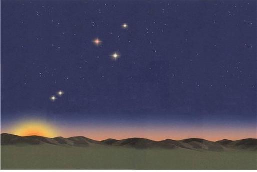 151년 8월 10일 새벽 동쪽하늘에 수성, 토성, 화성, 금성, 목성(왼쪽부터) 다섯 행성이 모여 있는 상상도. - 한국아마추어천문학회 제공