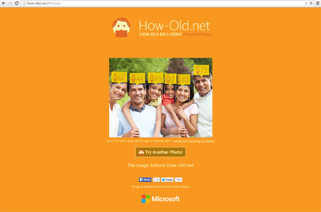 사진을 올리면 얼굴의 나이와 성별을 맞히는 하우올드닷넷 사이트 - how-old.net 제공