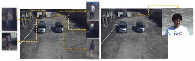 일반 CCTV와 새로 개발한 CCTV 시스템을 통해 40m 떨어진 거리에 있는 사람을 촬영한 모습. 새로 개발한 CCTV에서는 얼굴이 또렸하게 구분된다. 이 시스템을 통하면 최대 60m 떨어진 용의자의 얼굴도 알아볼 수 있다. - 한국표준과학연구원 제공