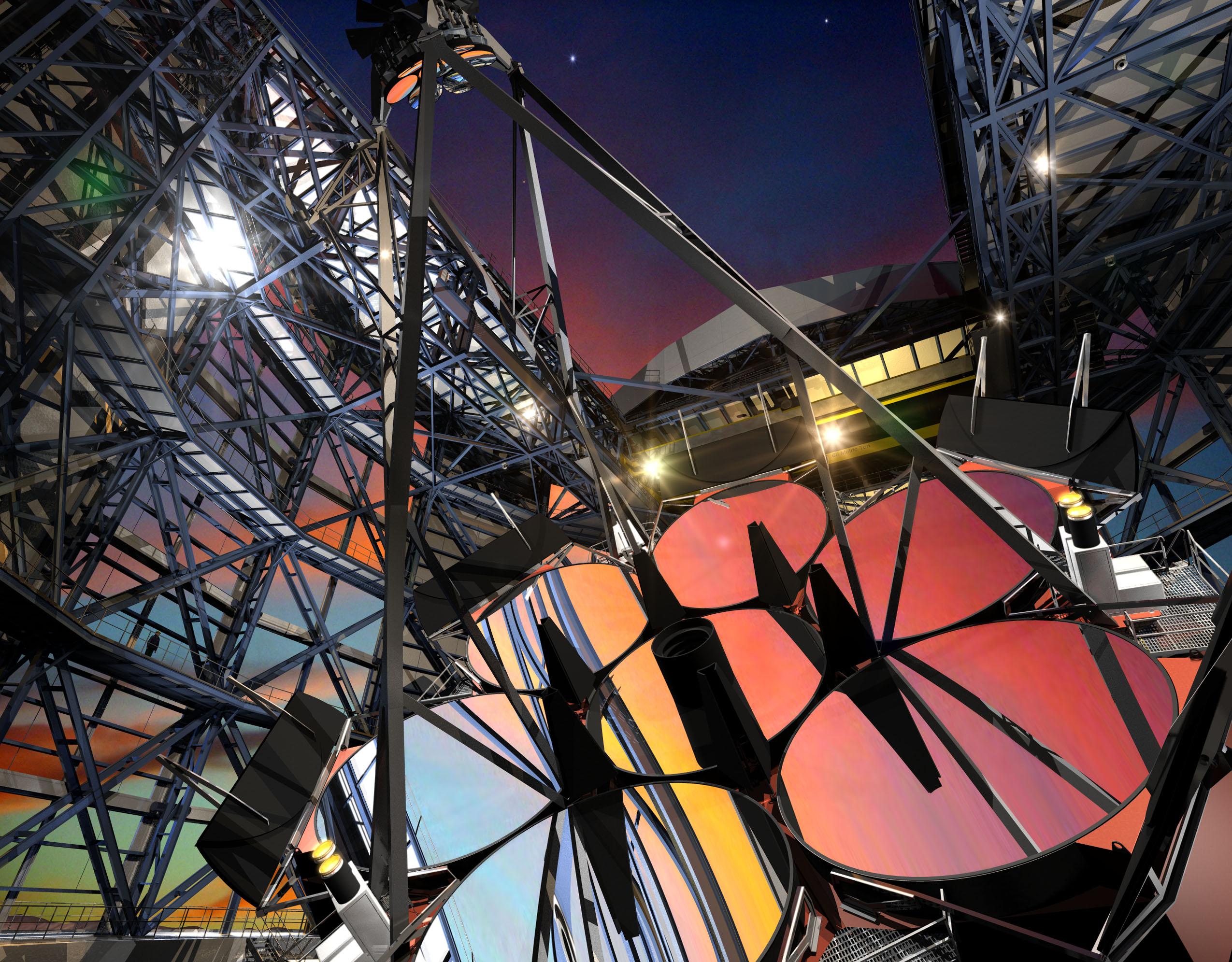 거대마젤란망원경(GMT)의 주경은 지름이 25.4m에 이르며, 지름이 각 8.4m인 거울 7장을 벌집 모양으로 연결해 만든다. - 한국천문연구원 제공