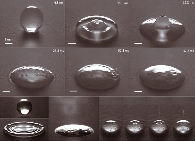MIT 연구팀이 초고속 카메라로 촬영한 물방울의 모습. 사진 속의 작은 방울들은 충격으로 인해 생긴 공기방울과 에어로졸이다. - 네이처 커뮤니케이션즈 제공