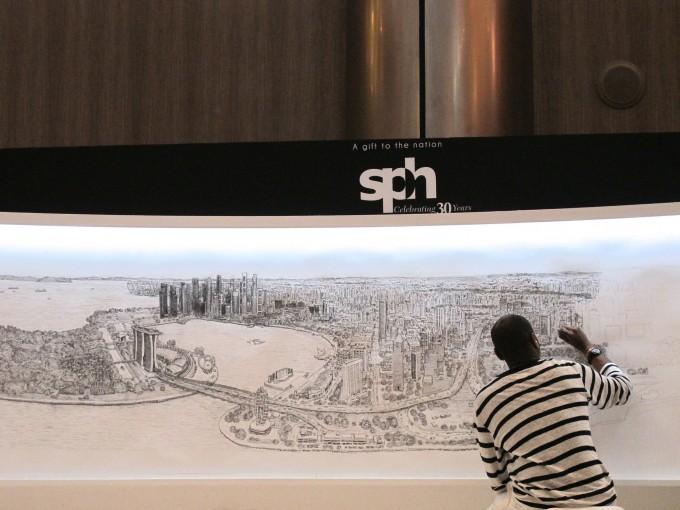 싱가포르의 전경을 그리고 있는 스티븐 윌트셔. - Steel Wool 제공