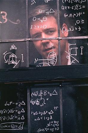 지난 5월 23일 불의의 교통사고로 사망한 존 내쉬는 22세 때 훗날 노벨상을 받게 되는 게임이론을 만든 천재 수학자였지만 31세에 정신분열증이 발병해 오랫동안 고생했다. 내쉬의 삶을 그린 영화 '뷰티풀 마인드'의 한 장면. - 드림웍스픽처스 제공